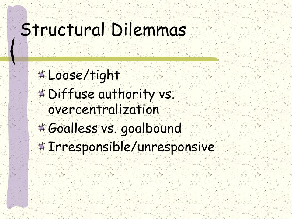 Structural Dilemmas Loose/tight Diffuse authority vs. overcentralization Goalless vs. goalbound Irresponsible/unresponsive