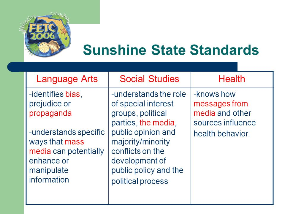 Sunshine State Standards Language ArtsSocial StudiesHealth -identifies bias, prejudice or propaganda -understands specific ways that mass media can po