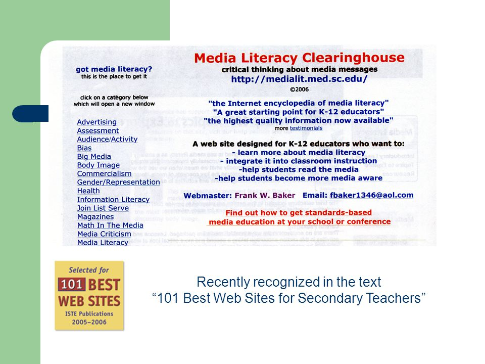 "Recently recognized in the text ""101 Best Web Sites for Secondary Teachers"""