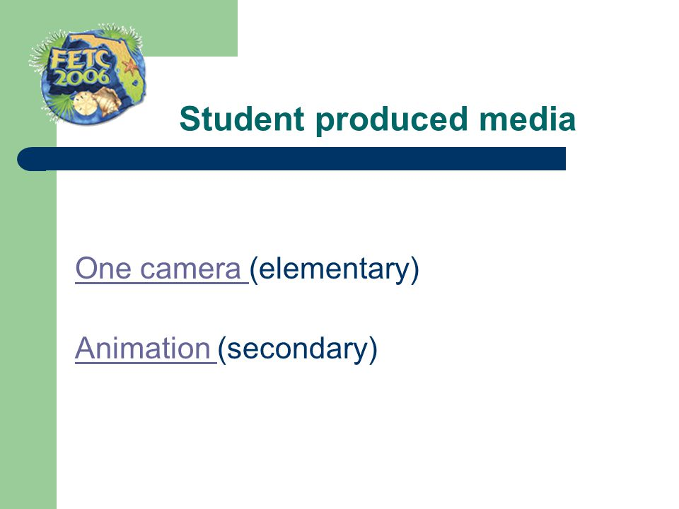 One camera One camera (elementary) Animation Animation (secondary)