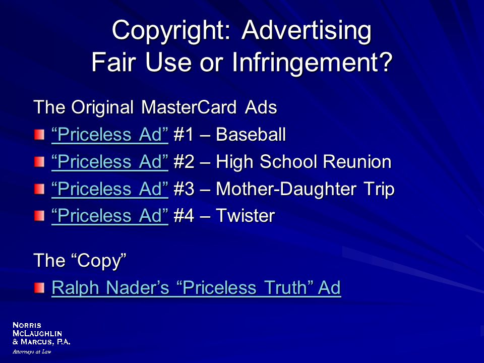 """Copyright: Advertising Fair Use or Infringement? The Original MasterCard Ads """"Priceless Ad""""""""Priceless Ad"""" #1 – Baseball """"Priceless Ad"""" """"Priceless Ad"""""""""""