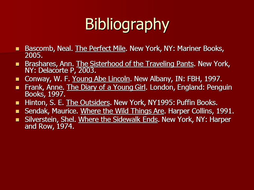 Bibliography Bascomb, Neal. The Perfect Mile. New York, NY: Mariner Books,