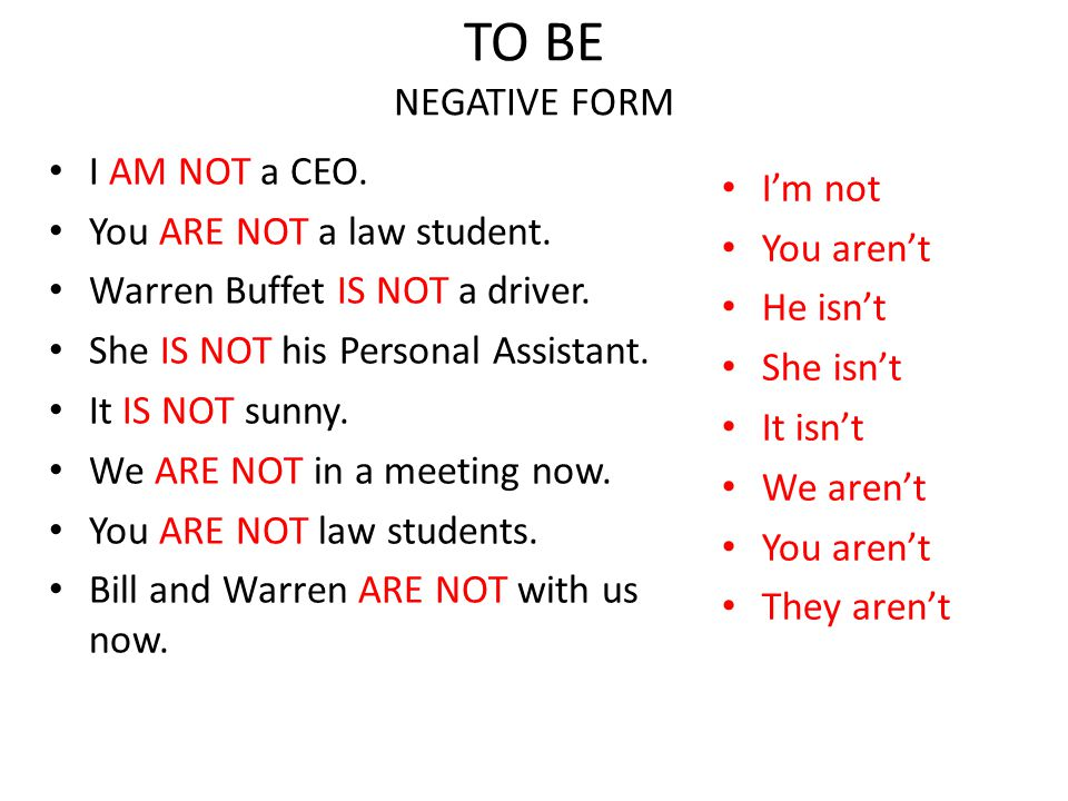 TO BE NEGATIVE FORM I AM NOT a CEO. You ARE NOT a law student. Warren Buffet IS NOT a driver. She IS NOT his Personal Assistant. It IS NOT sunny. We A