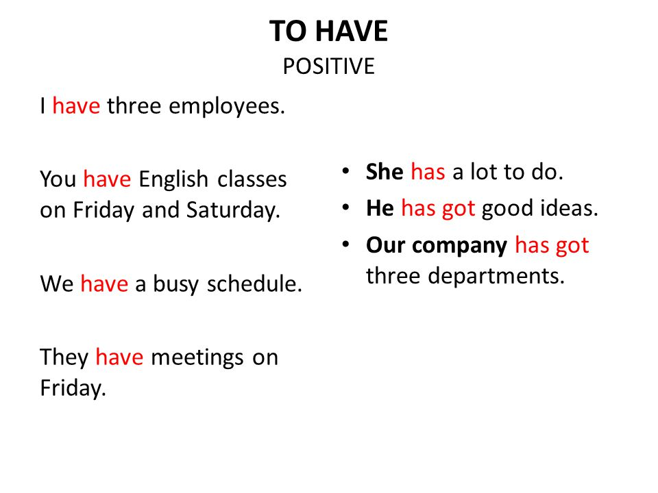TO HAVE POSITIVE I have three employees. You have English classes on Friday and Saturday. We have a busy schedule. They have meetings on Friday. She h