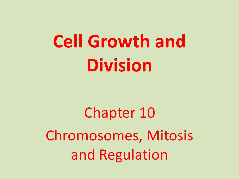 Cell Growth and Division Chapter 10 Chromosomes, Mitosis and Regulation