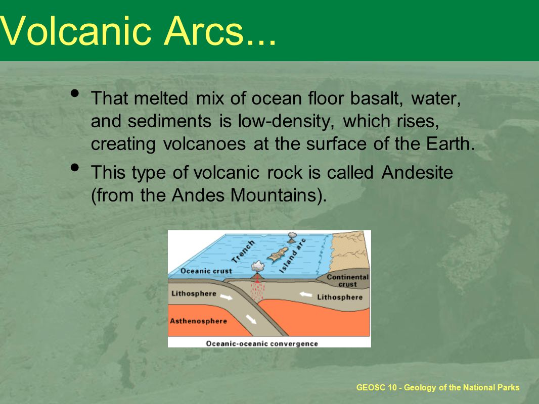 GEOSC 10 - Geology of the National Parks Volcanic Arcs... That melted mix of ocean floor basalt, water, and sediments is low-density, which rises, cre