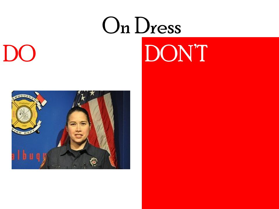 On Dress DO DON'TDO