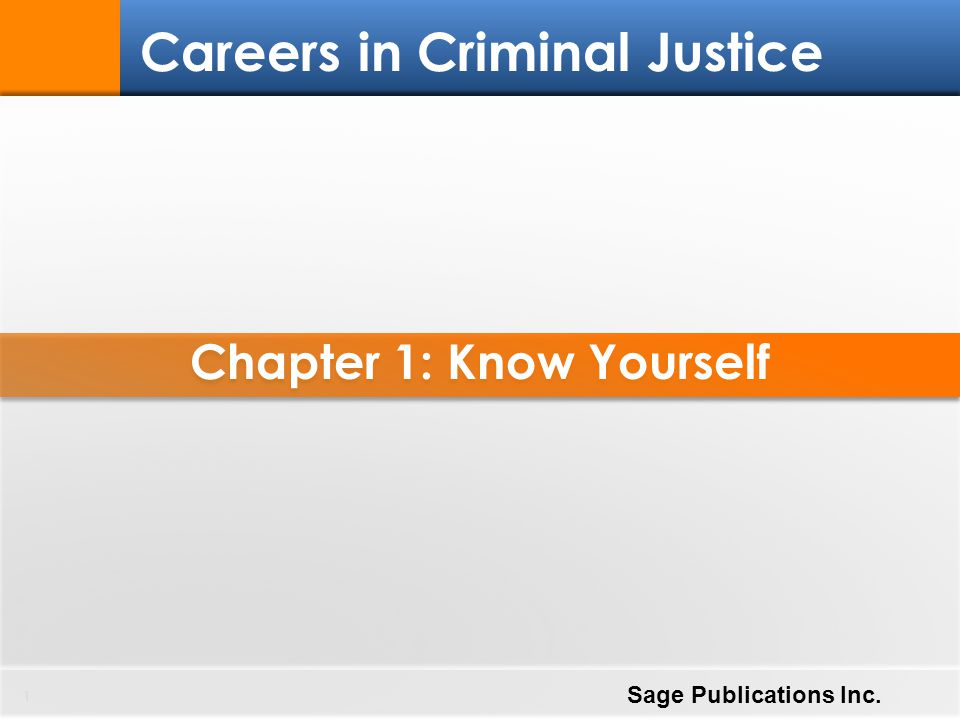 Chapter 1: Know Yourself 1 Careers in Criminal Justice Sage Publications Inc.