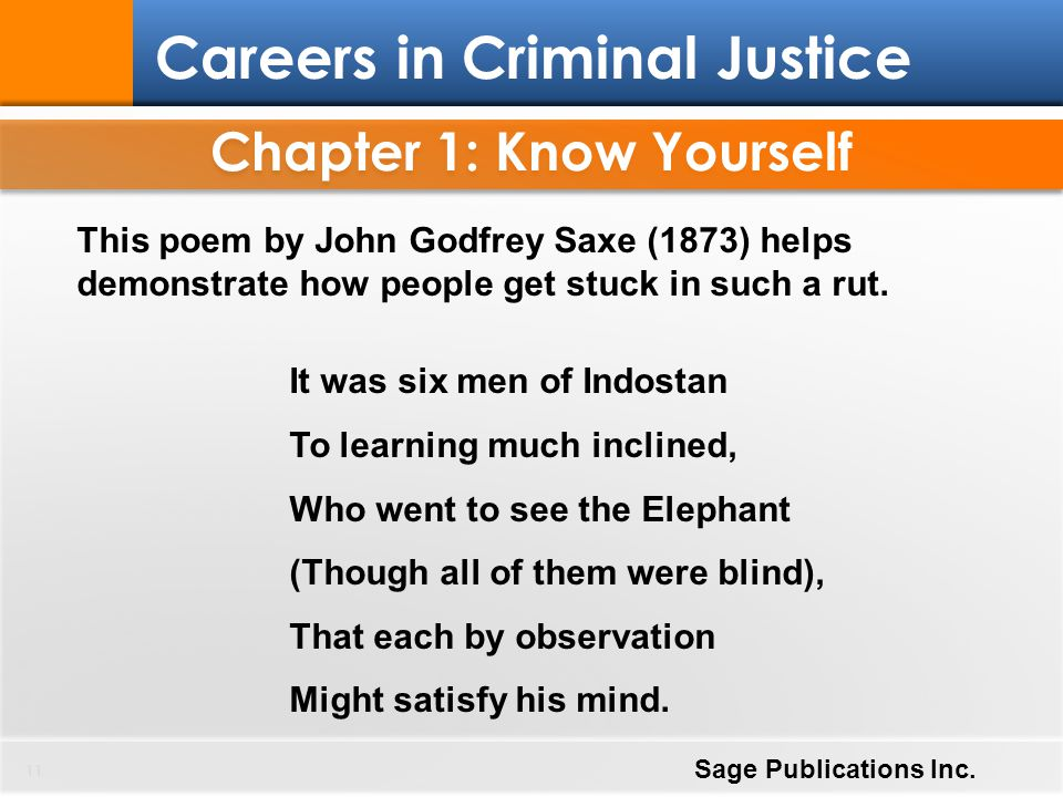 Chapter 1: Know Yourself 11 Careers in Criminal Justice Sage Publications Inc. This poem by John Godfrey Saxe (1873) helps demonstrate how people get