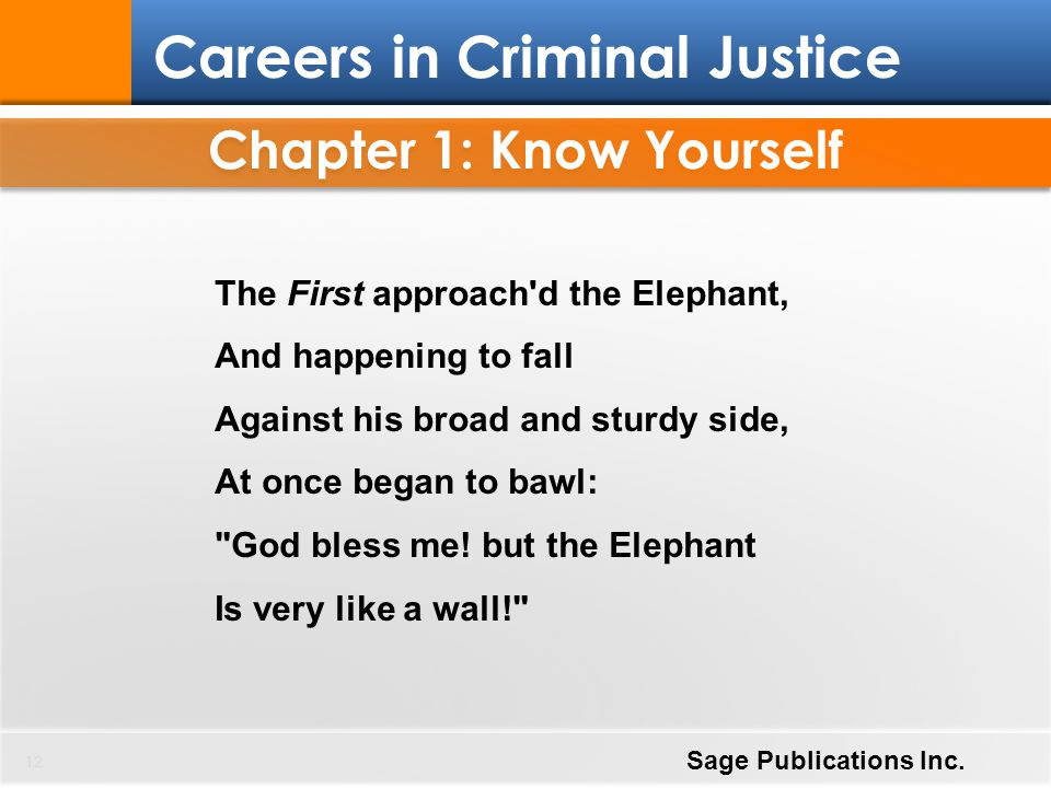 Chapter 1: Know Yourself 12 Careers in Criminal Justice Sage Publications Inc. The First approach'd the Elephant, And happening to fall Against his br