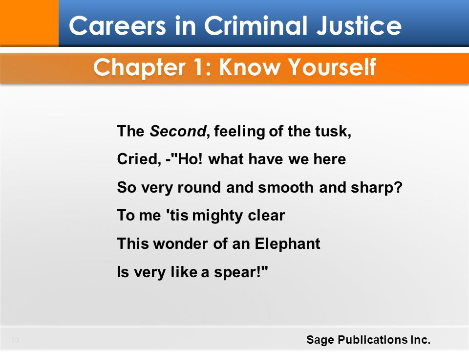 Chapter 1: Know Yourself 13 Careers in Criminal Justice Sage Publications Inc. The Second, feeling of the tusk, Cried, -