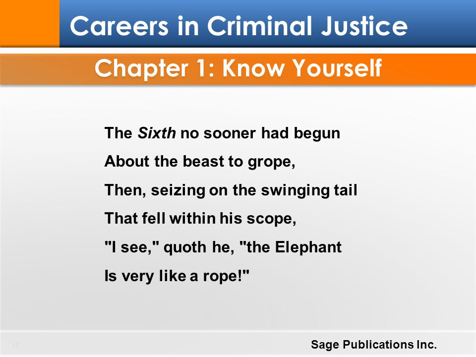 Chapter 1: Know Yourself 17 Careers in Criminal Justice Sage Publications Inc. The Sixth no sooner had begun About the beast to grope, Then, seizing o