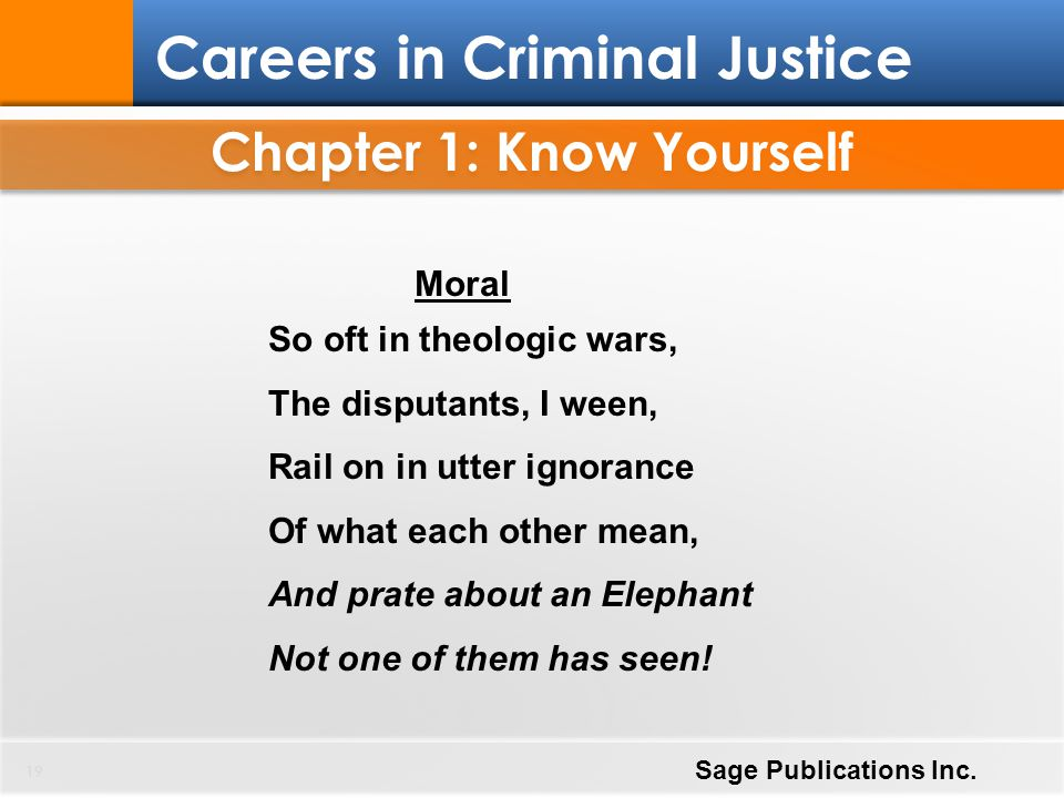 Chapter 1: Know Yourself 19 Careers in Criminal Justice Sage Publications Inc. Moral So oft in theologic wars, The disputants, I ween, Rail on in utte