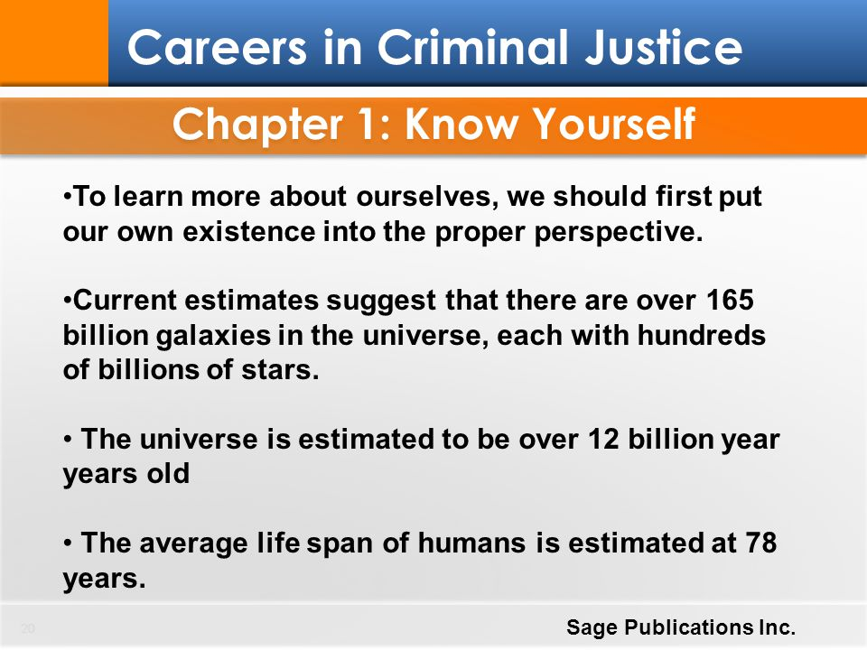 Chapter 1: Know Yourself 20 Careers in Criminal Justice Sage Publications Inc. To learn more about ourselves, we should first put our own existence in
