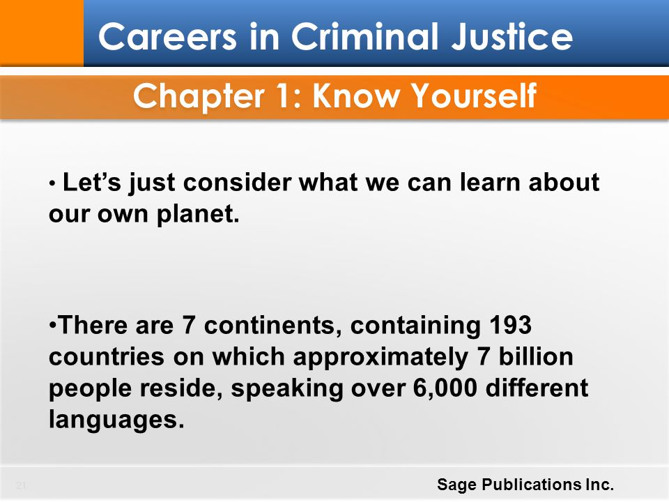 Chapter 1: Know Yourself 21 Careers in Criminal Justice Sage Publications Inc. Let's just consider what we can learn about our own planet. There are 7