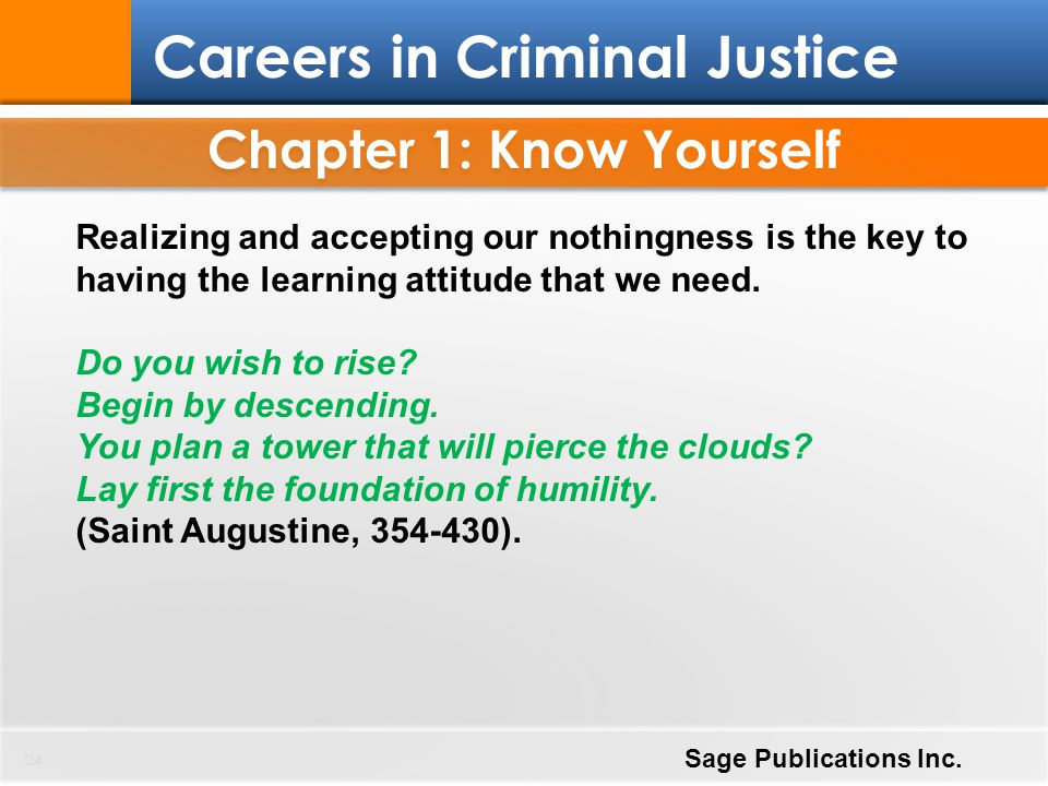 Chapter 1: Know Yourself 24 Careers in Criminal Justice Sage Publications Inc. Realizing and accepting our nothingness is the key to having the learni