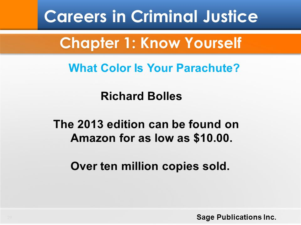 Chapter 1: Know Yourself 29 Careers in Criminal Justice Sage Publications Inc. What Color Is Your Parachute? Richard Bolles The 2013 edition can be fo