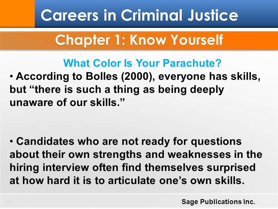 "31 Careers in Criminal Justice Sage Publications Inc. What Color Is Your Parachute? According to Bolles (2000), everyone has skills, but ""there is suc"