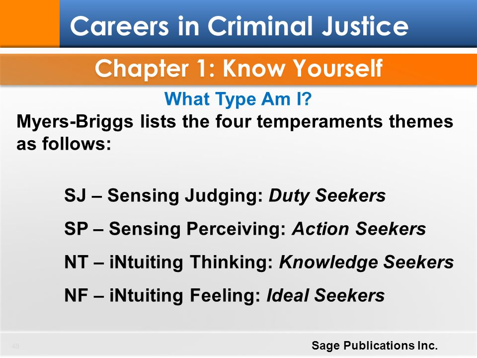 Chapter 1: Know Yourself 48 Careers in Criminal Justice Sage Publications Inc. What Type Am I? Myers-Briggs lists the four temperaments themes as foll