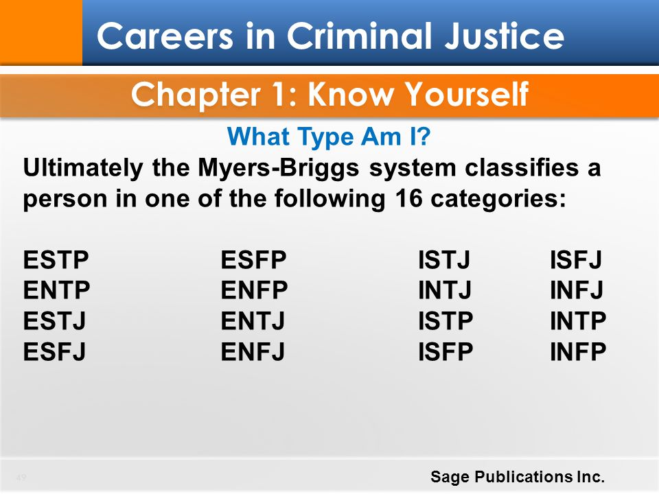 Chapter 1: Know Yourself 49 Careers in Criminal Justice Sage Publications Inc. What Type Am I? Ultimately the Myers-Briggs system classifies a person