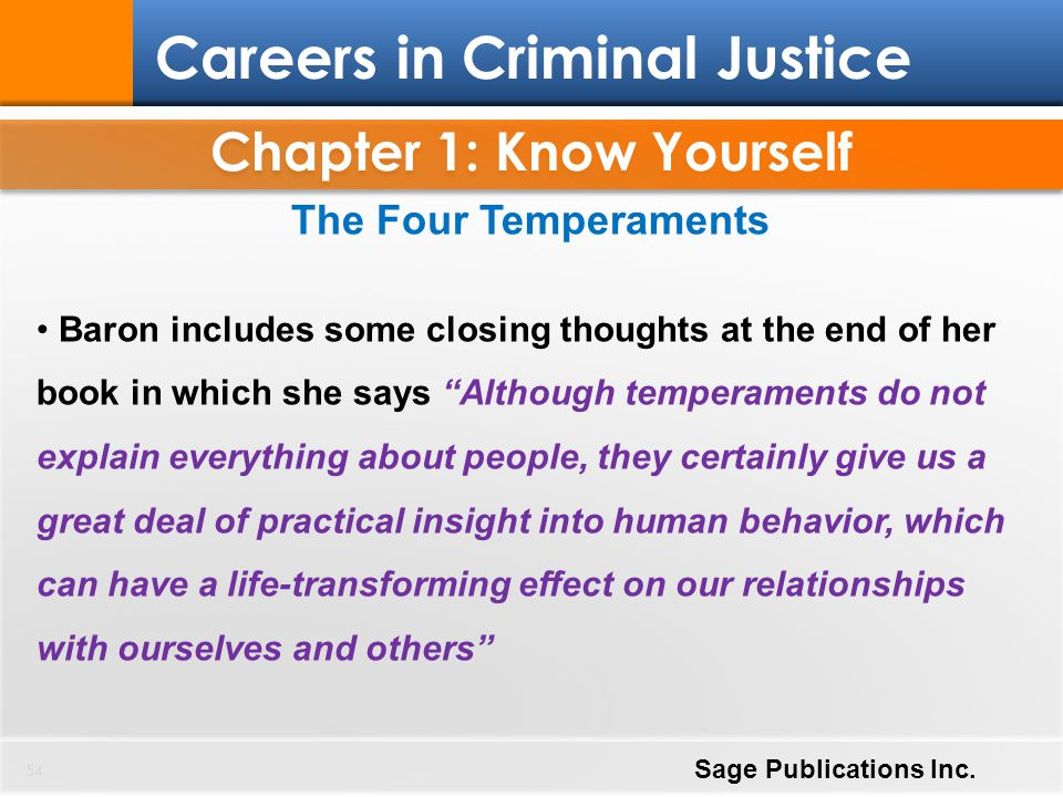 Chapter 1: Know Yourself 54 Careers in Criminal Justice Sage Publications Inc. The Four Temperaments Baron includes some closing thoughts at the end o
