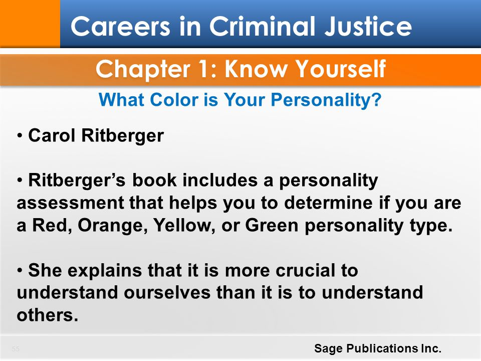 Chapter 1: Know Yourself 55 Careers in Criminal Justice Sage Publications Inc. What Color is Your Personality? Carol Ritberger Ritberger's book includ