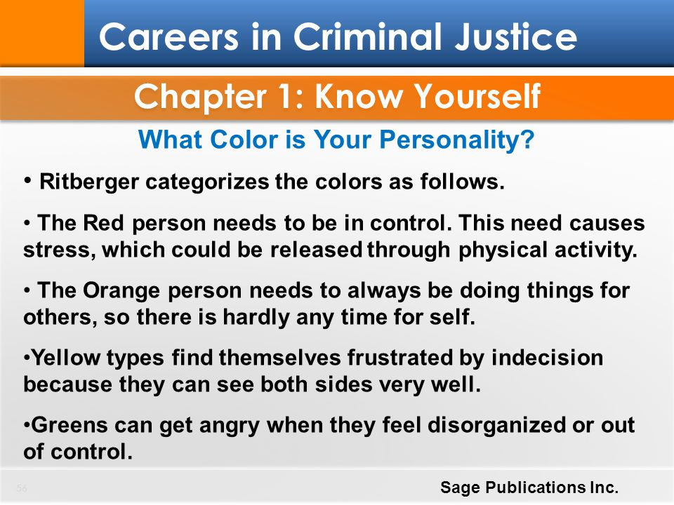 Chapter 1: Know Yourself 56 Careers in Criminal Justice Sage Publications Inc. What Color is Your Personality? Ritberger categorizes the colors as fol