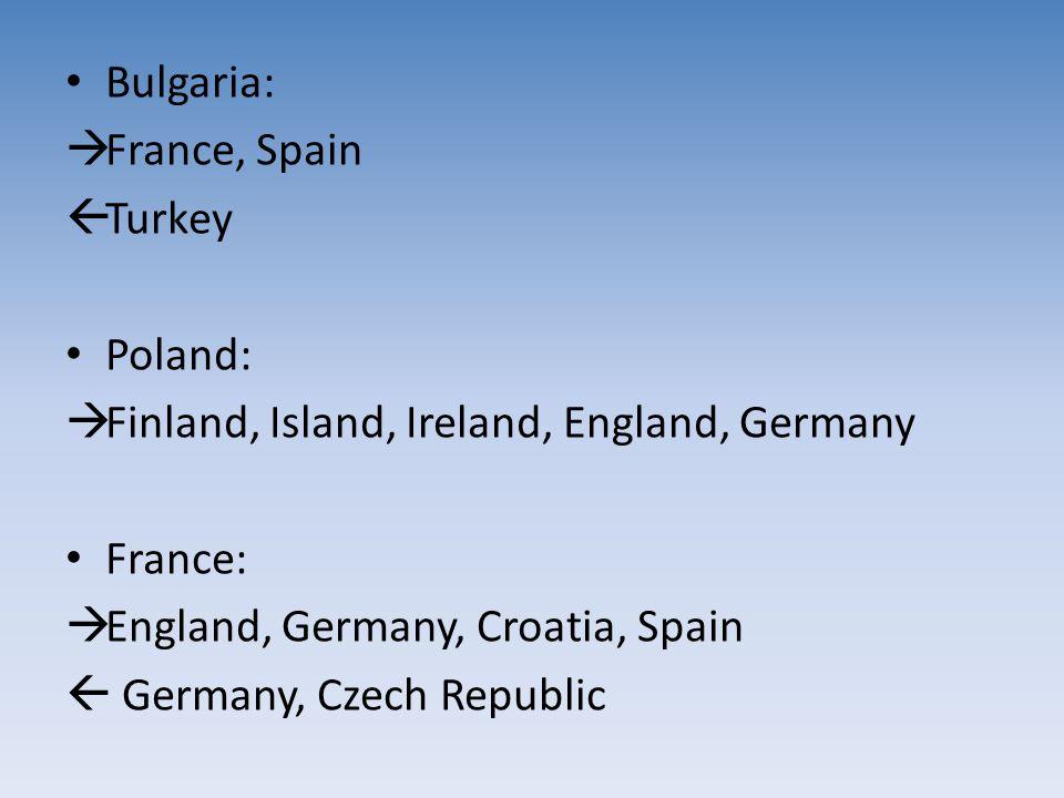 Bulgaria:  France, Spain  Turkey Poland:  Finland, Island, Ireland, England, Germany France:  England, Germany, Croatia, Spain  Germany, Czech Re