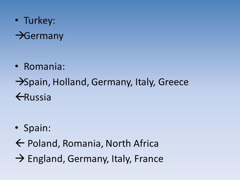 Turkey:  Germany Romania:  Spain, Holland, Germany, Italy, Greece  Russia Spain:  Poland, Romania, North Africa  England, Germany, Italy, France