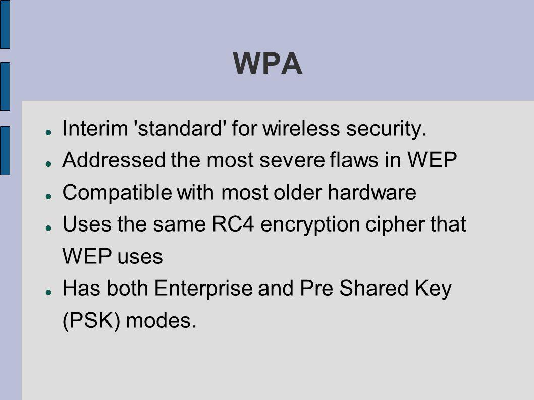 WPA Interim standard for wireless security.