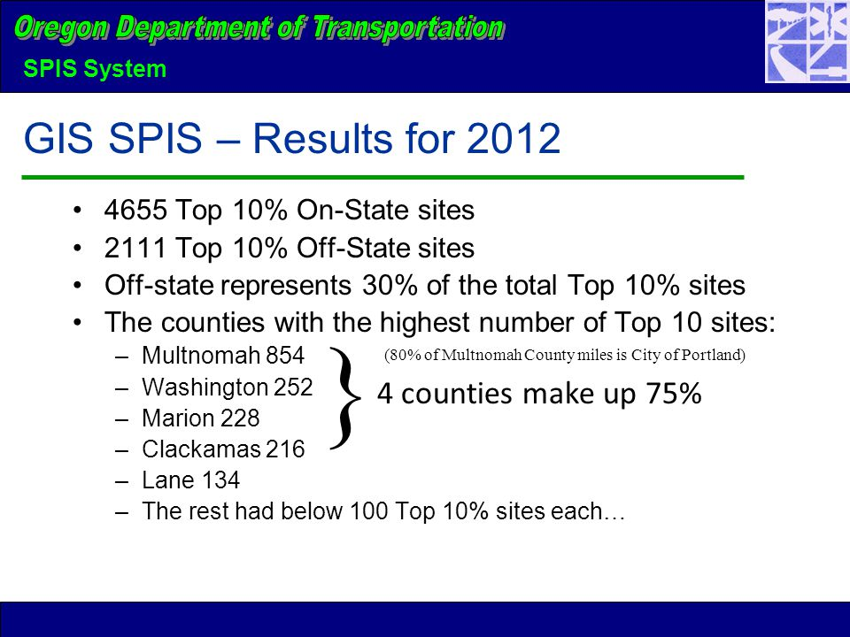 SPIS System GIS SPIS – Results for 2012 4655 Top 10% On-State sites 2111 Top 10% Off-State sites Off-state represents 30% of the total Top 10% sites The counties with the highest number of Top 10 sites: –Multnomah 854 –Washington 252 –Marion 228 –Clackamas 216 –Lane 134 –The rest had below 100 Top 10% sites each… } 4 counties make up 75% (80% of Multnomah County miles is City of Portland)