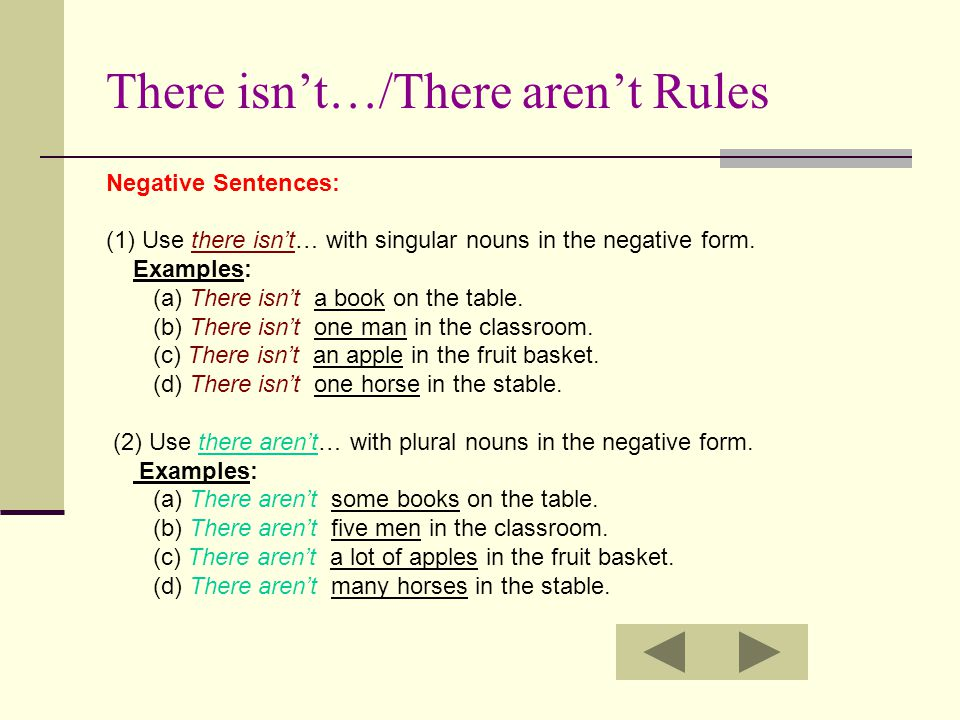 There isn't…/There aren't Rules Negative Sentences: (1) Use there isn't… with singular nouns in the negative form. Examples: (a) There isn't a book on