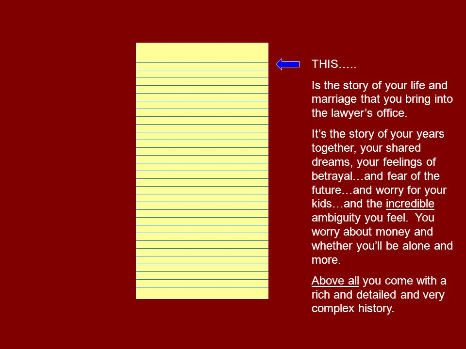 THIS….. …is the part of your story that the lawyer can process in the few hours you have together.