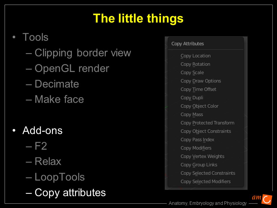 Anatomy, Embryology and Physiology Tools –Clipping border view –OpenGL render –Decimate –Make face Add-ons –F2 –Relax –LoopTools –Copy attributes The little things