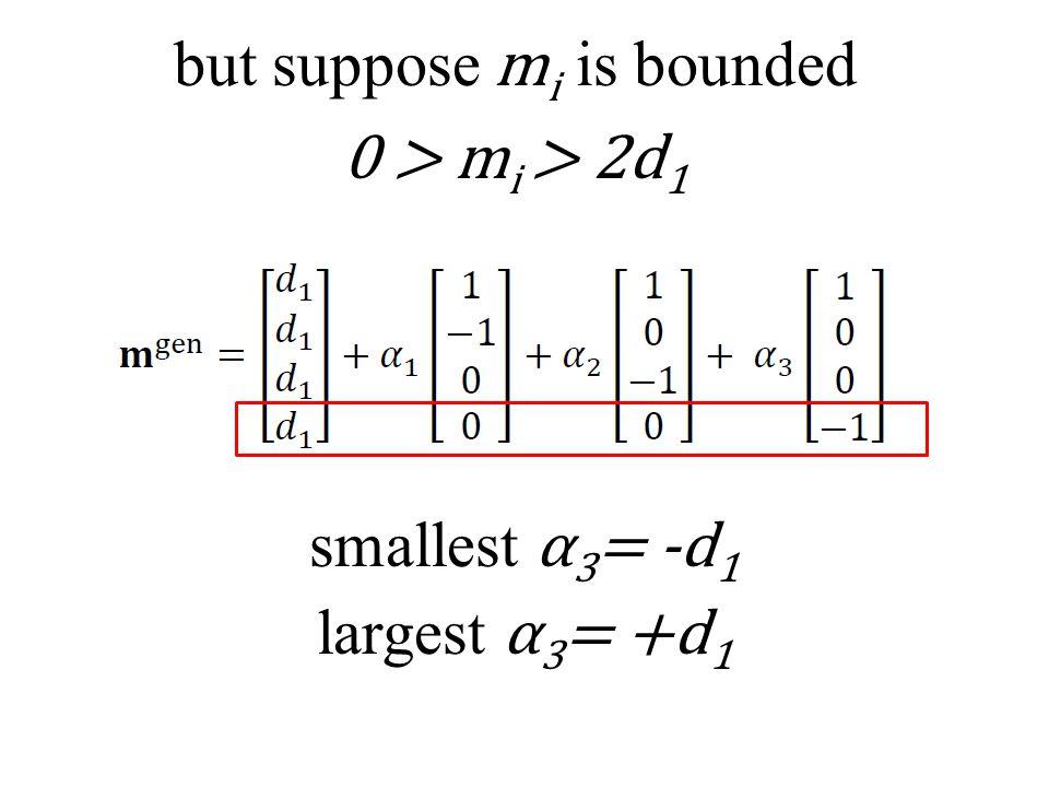 but suppose m i is bounded 0 > m i > 2d 1 smallest α 3 = -d 1 largest α 3 = +d 1