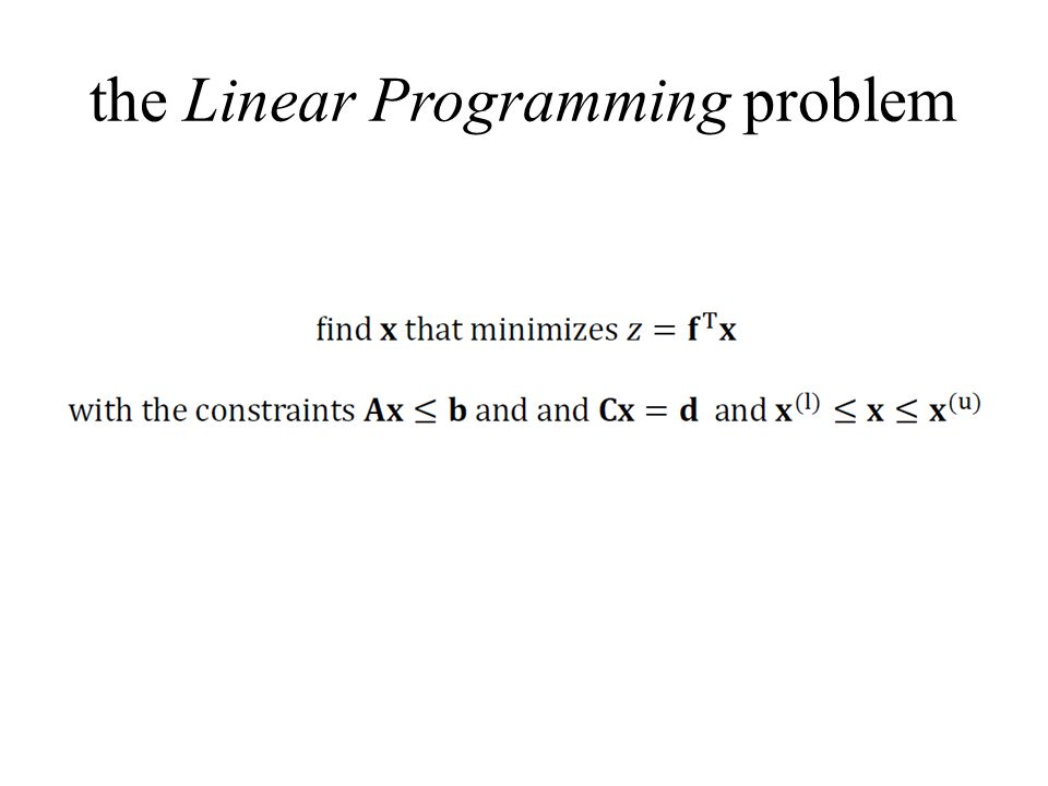 the Linear Programming problem