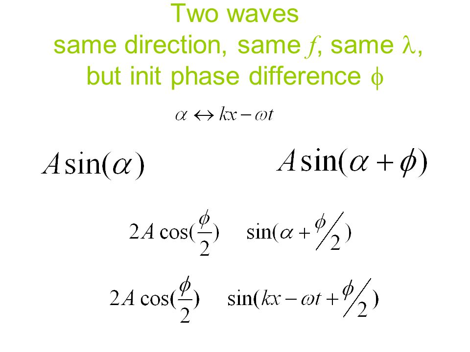 Two waves same direction, same f, same, but init phase difference 