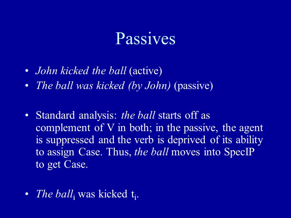 Passives John kicked the ball (active) The ball was kicked (by John) (passive) Standard analysis: the ball starts off as complement of V in both; in the passive, the agent is suppressed and the verb is deprived of its ability to assign Case.