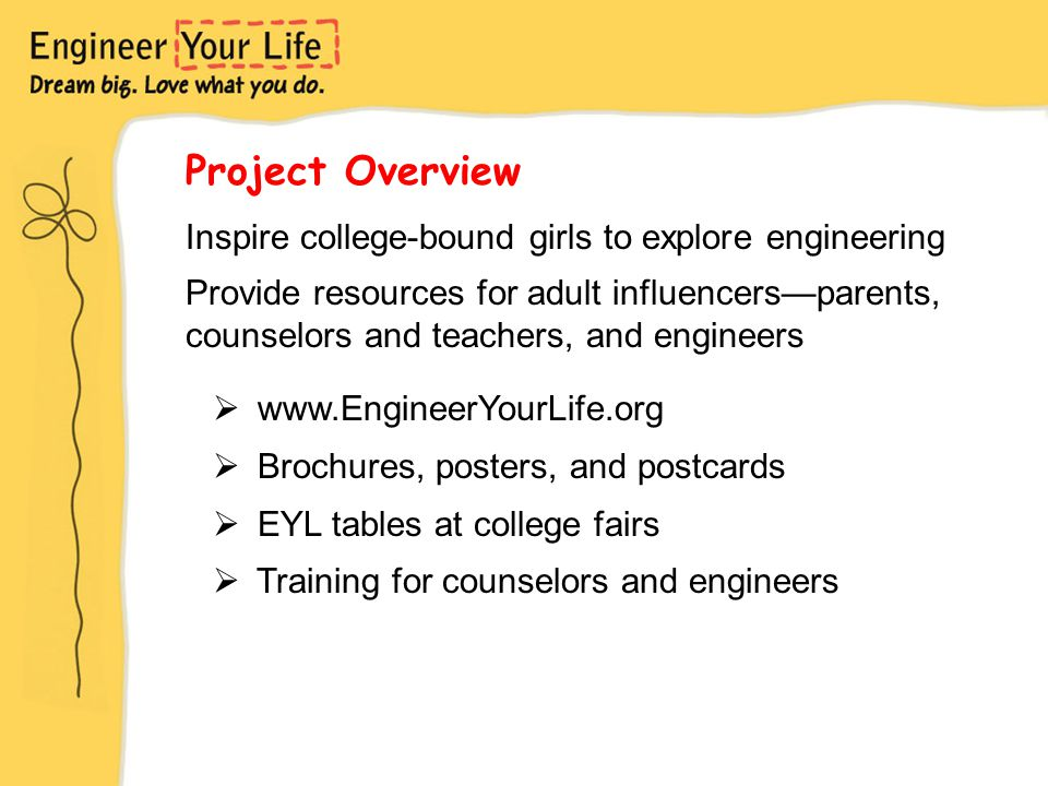 Project Overview Inspire college-bound girls to explore engineering Provide resources for adult influencers—parents, counselors and teachers, and engi