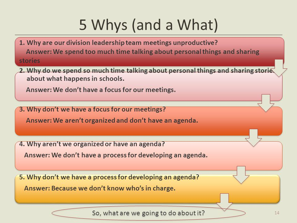 5 Whys (and a What) 14 5. Why don't we have a process for developing an agenda? Answer: Because we don't know who's in charge. 5. Why don't we have a