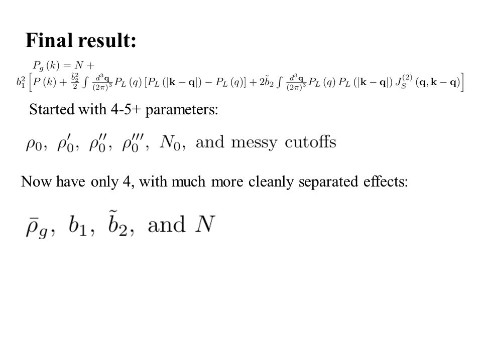 Final result: Started with 4-5+ parameters: Now have only 4, with much more cleanly separated effects: