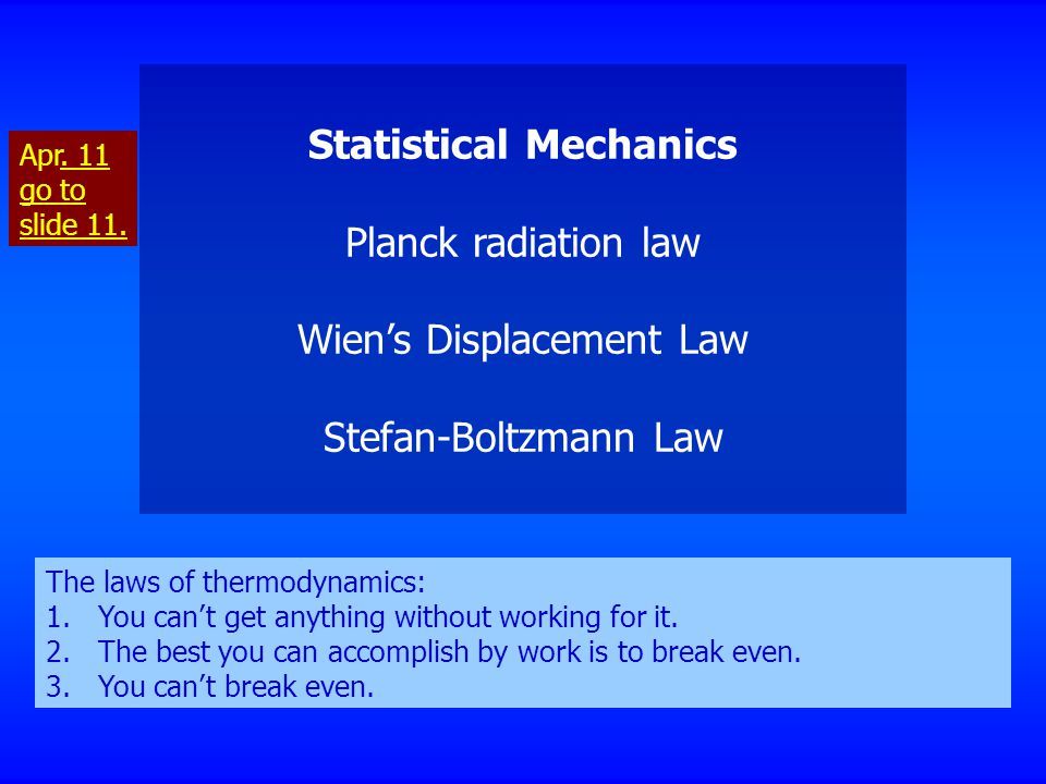 Statistical Mechanics Planck radiation law Wien's Displacement Law Stefan-Boltzmann Law The laws of thermodynamics: 1.You can't get anything without w
