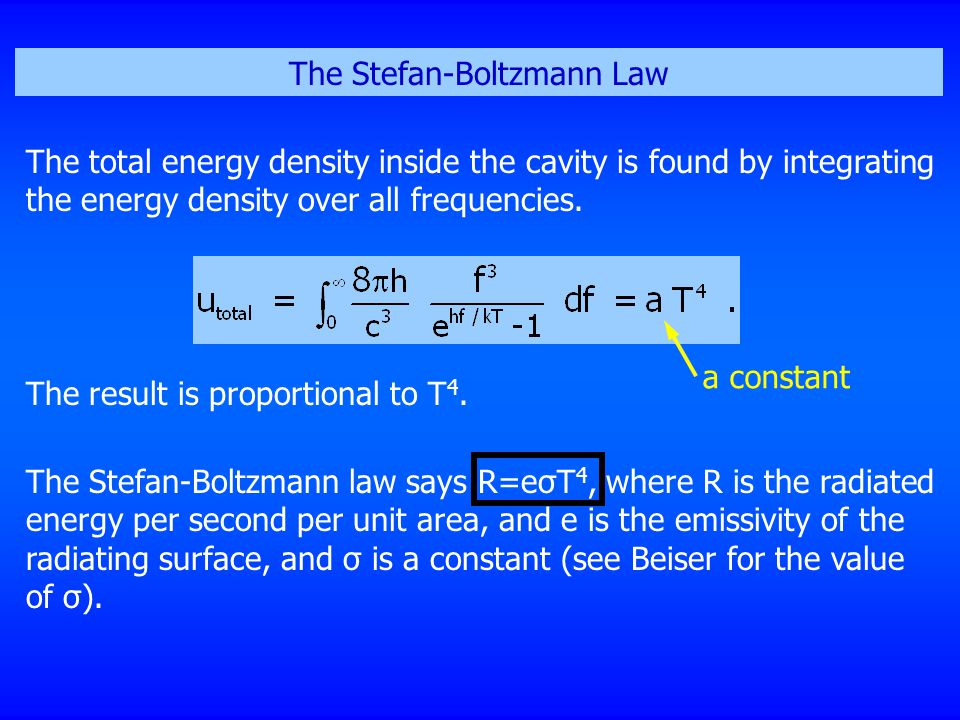 The Stefan-Boltzmann Law The total energy density inside the cavity is found by integrating the energy density over all frequencies. The result is pro