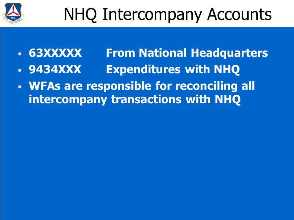 NHQ Intercompany Accounts 63XXXXXFrom National Headquarters 9434XXXExpenditures with NHQ WFAs are responsible for reconciling all intercompany transactions with NHQ