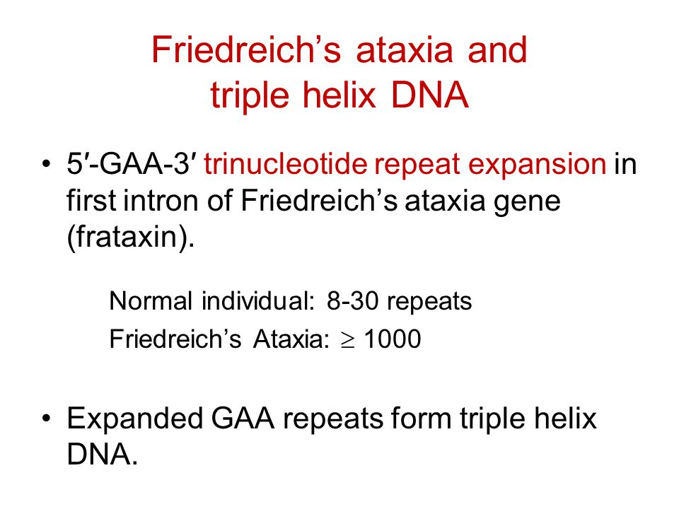Friedreich's ataxia and triple helix DNA 5′-GAA-3′ trinucleotide repeat expansion in first intron of Friedreich's ataxia gene (frataxin). Normal indiv
