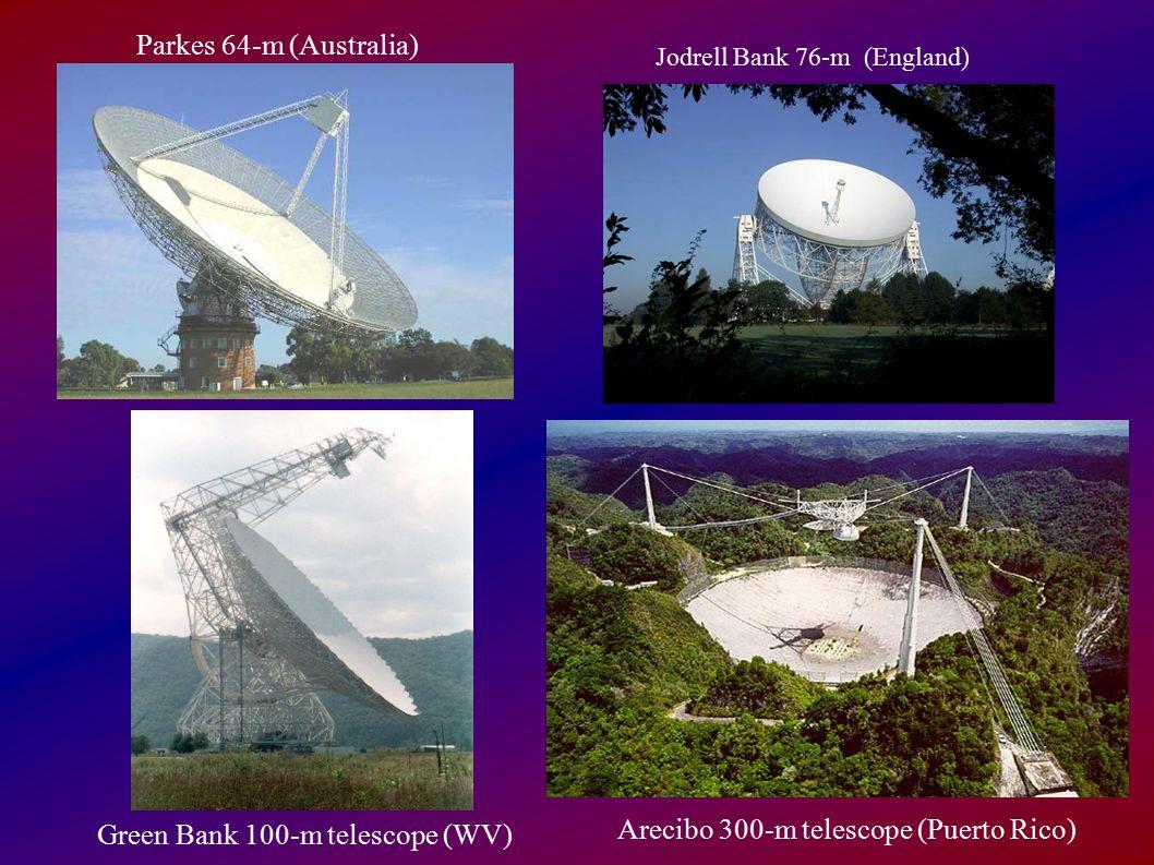 Parkes 64-m (Australia) Green Bank 100-m telescope (WV) Arecibo 300-m telescope (Puerto Rico) Jodrell Bank 76-m (England)