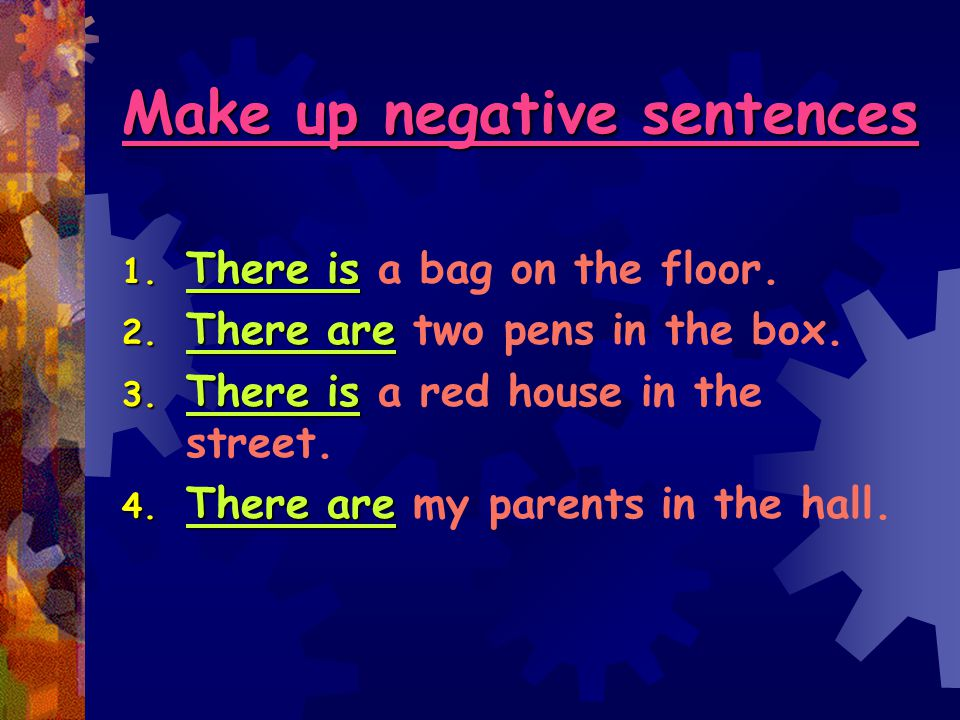 Make up negative sentences 1.There is 1. There is a bag on the floor.