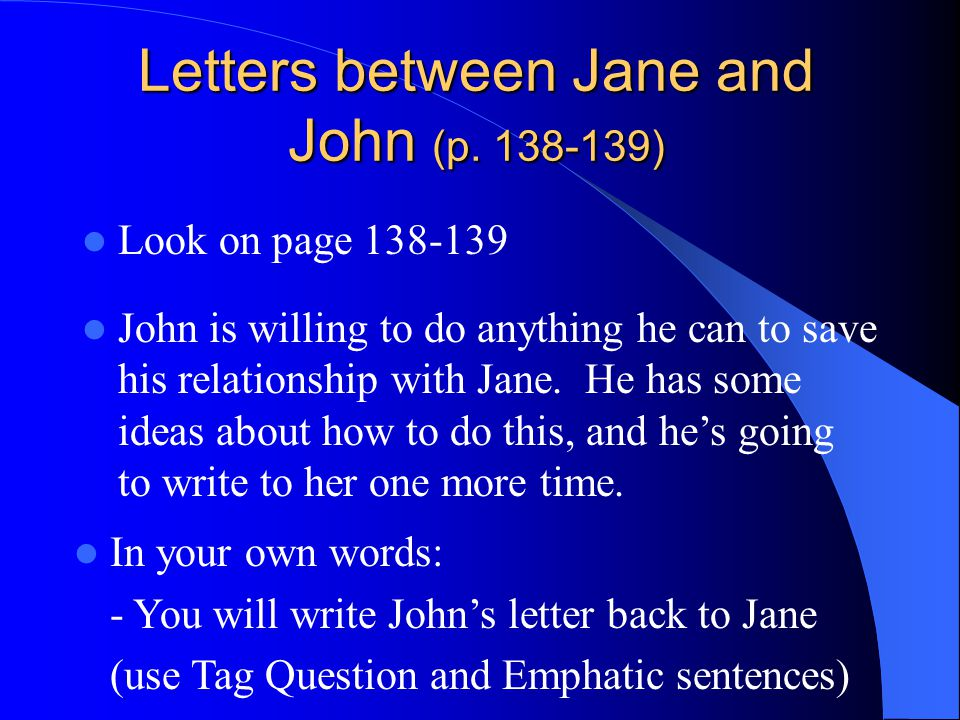 Letters between Jane and John (p.