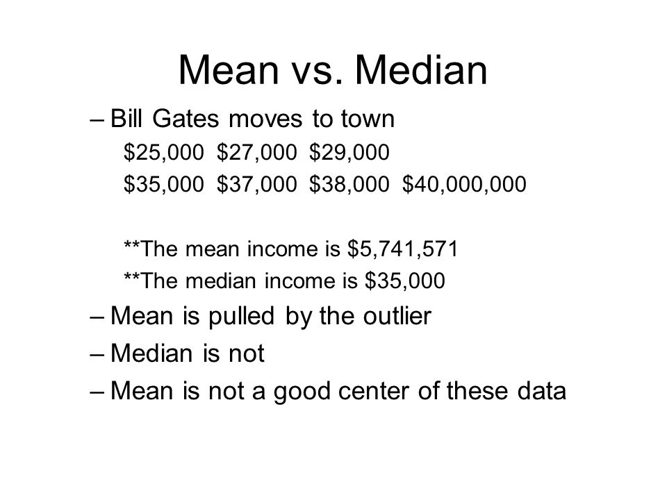 Mean vs. Median –Bill Gates moves to town $25,000 $27,000 $29,000 $35,000 $37,000 $38,000 $40,000,000 **The mean income is $5,741,571 **The median inc