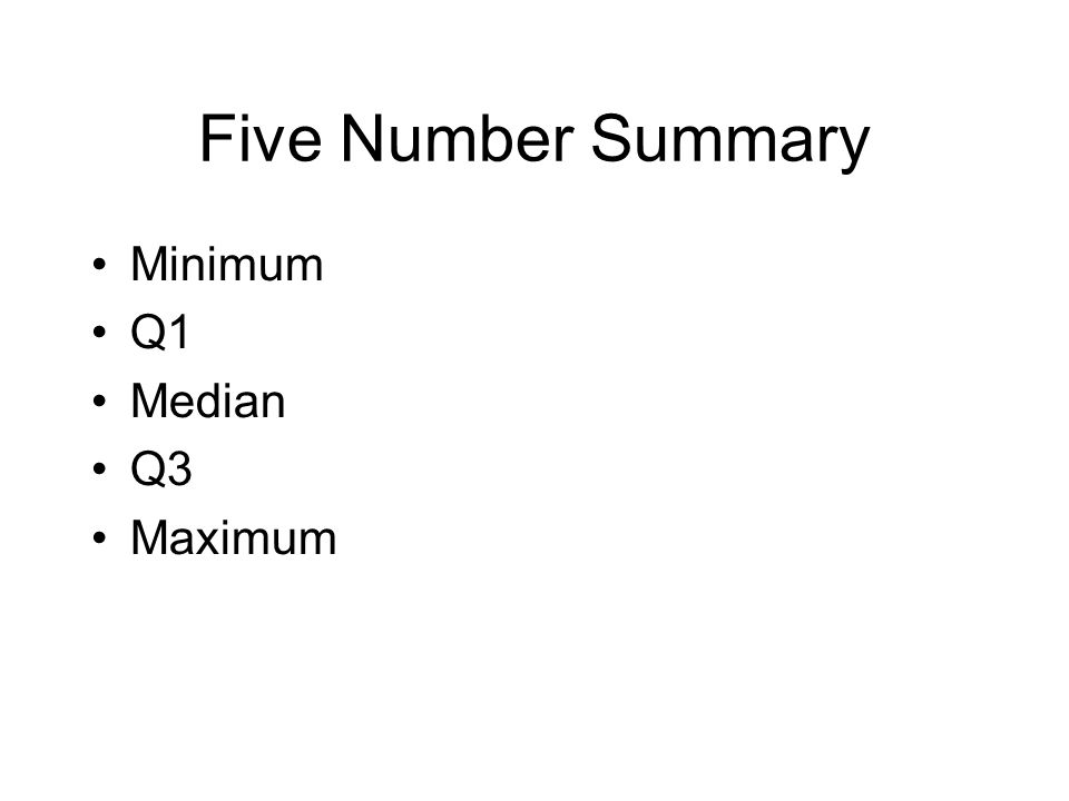Five Number Summary Minimum Q1 Median Q3 Maximum